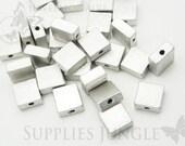 MB002-MR// Matt Original Rhodium Plated Square Metal Beads, 4Pc