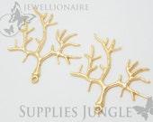 P142-MG// Matt Gold Plated Branch Pendant Finding, 2pcs