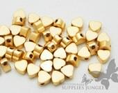 MB004-01-MG// Matt 14k Gold Pated Heart Shape Metal Beads, 6Pc