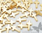 MB009-02-MG// Matt 14k Gold Plated Mini Cross Charm, 6pc