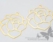 P066-02-MG// Matt Gold Plated Rose Pendant, 2pcs