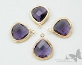 F100-G-VI// Gold Framed Violet Faceted Glass Stone Pendant, 2 pcs