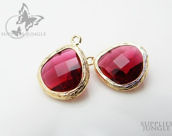 F100-G-RU // Gold Framed Ruby Glass Stone Pendant, 2 pcs