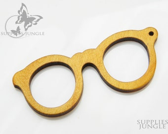W100-Y// Yellow Wooden Glasses Pendant, 2Pc