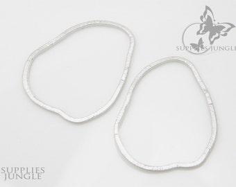A301-01-MR// Matt Rhodium Plated Texture Organic Link, 4 pcs