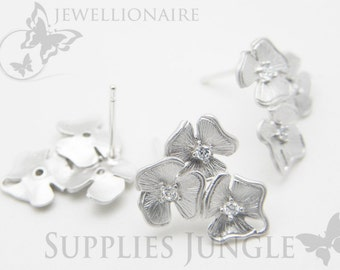 E113-MR // Matt Original Rhodium Plated Triple Flower Ear Post Finding, 2 Pc