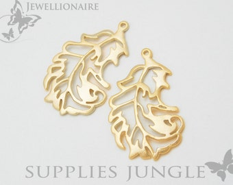 P140-MG// Matt 14k Gold Plated Natural Leaf Pendant, 2Pc