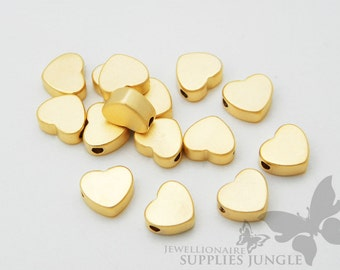 MB004-02-MG// Matt 14k Gold Pated Heart Shape Metal Beads, 6pcs