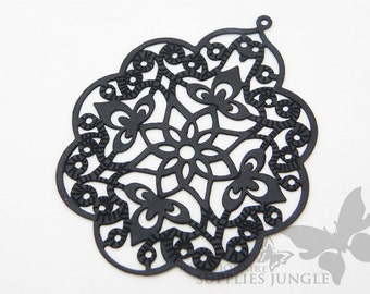 P161-02-MB// Matt Black Coated Gothic Filigree Pendent, 2pcs