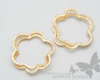 P177-MG// Matt Gold Plated Dubble Flower Type Pendant, 2pcs