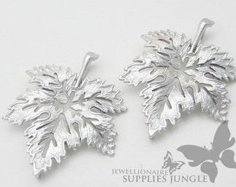 P190-MR// Matt Original Rhodium Plated Leaf Pendant, 2Pc