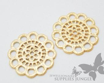 P223-MG// Matt Gold Plated Lace Flower Pendant, 4pcs