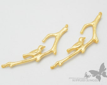 P271-MG// Matt Gold Plated Single Sparrow on Branch Pendant, 2pcs