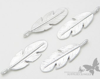 P277-MR// Matt Rhodium Plated Feather Pendant, 4pcs