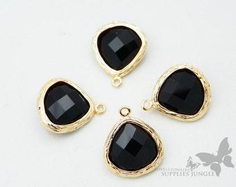 F100-G-BL// Gold Framed Black Faceted Glass Stone Pendant, 2 pcs