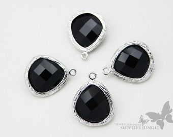 F100-S-BL// Rhodium Framed Black Faceted Glass Stone Pendant, 2 pcs