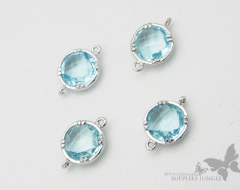 F110-S-IB// Silver Plated Framed Iced Blue Glass Stone Connector, 2Pc