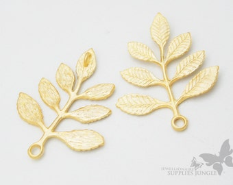 P284-MG// Matt Gold Plated Leaf Pendent, 2pcs