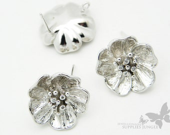 E147-R// Glossy Silver (Original Rhodium) Plated Bic Flower EarPost, 2Pc