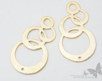 P293-MG// Matt Gold Plated Muti Bubble Pendant, 2pcs