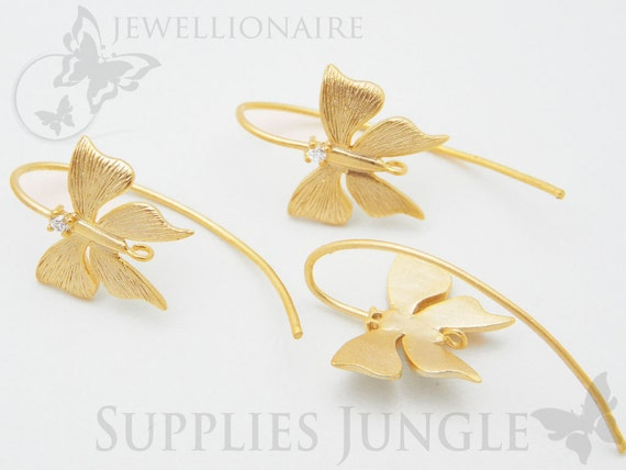 E121-MG// Matt 14k Gold Plated Butterfly Earwire Finding, 2Pc