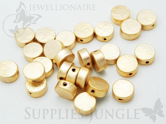 MB001-MG// Matt 14k Gold Plated Brushed Metal Beads, 4Pc