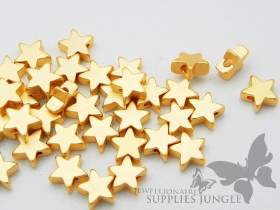 MB005-02-MG// Matt 14k Gold Plated Star Shape Metal Beads, 6pcs