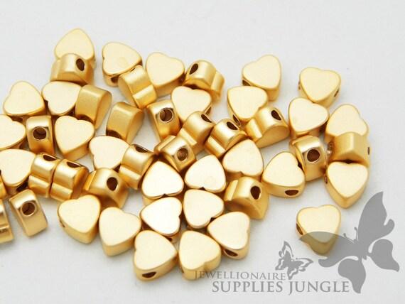 MB004-01-MG// Matt 14k Gold Pated Small Heart Shape Metal Beads, 6pcs