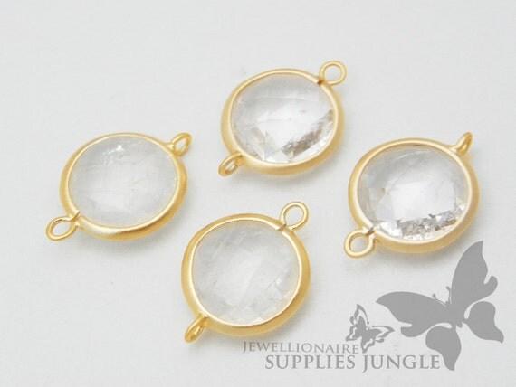 F104-MG-CR// Matt Gold Framed Crystal Glass Stone Connector, 2 Pc