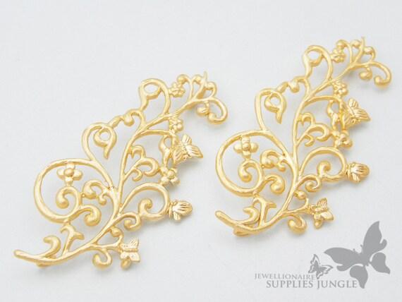 P275-MG// Matt 14k Gold Plated Ivy Pendent, 2Pc