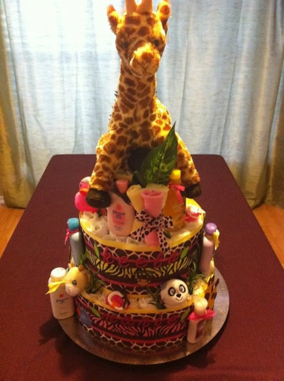 Girl Jungle Theme Diaper Cake