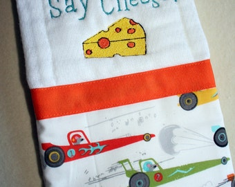 Infant burp cloth-michael miller rat race design- machine appliqued cheese-orange ribbon- rats in cars