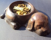 Cast Statuary Stone Dog Bowl ooak