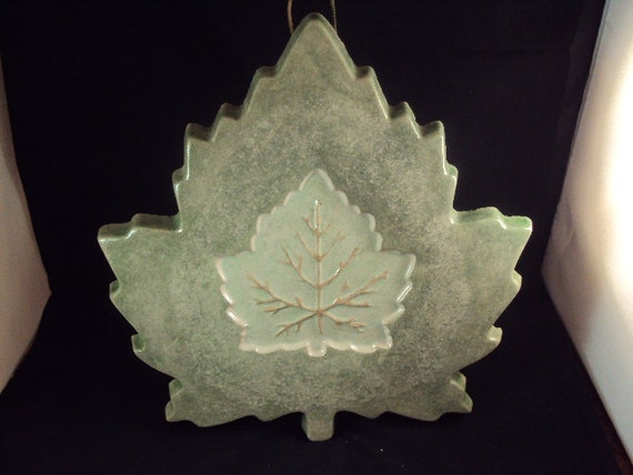 Cast Cement Stone Maple Leaf Wall Hanging
