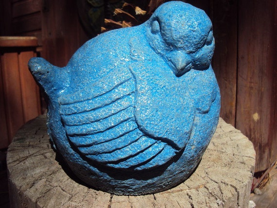 Cast Cement Stone Bird in Blue Garden Decor