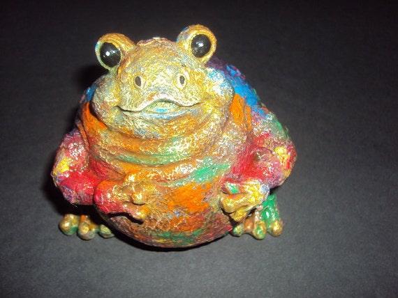 Statuary Stone Frog  (Hippy) ooak
