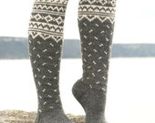 SALE Knee High Boot Socks Hand Knit Norwegian Design You Pick Color