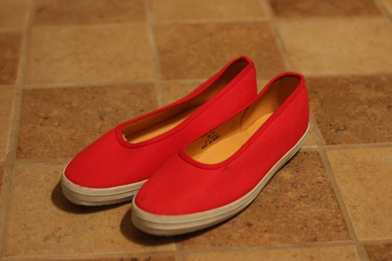 Vintage Red Canvas Ralph Lauren Polo Flats / Shoes Women's Size 6.5.
