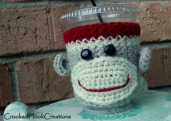 Sock Monkey Coffee Cozy