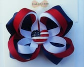 July 4th hair bow with flag resin
