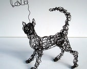 Unique Wire Cat Sculpture - Kitty LOVEs You