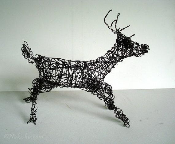 SALE - SIX Point BUCK- Unique Wire Deer Sculpture