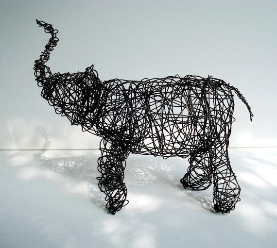 Baby Black Elephant - Unique Wire Animal Sculpture