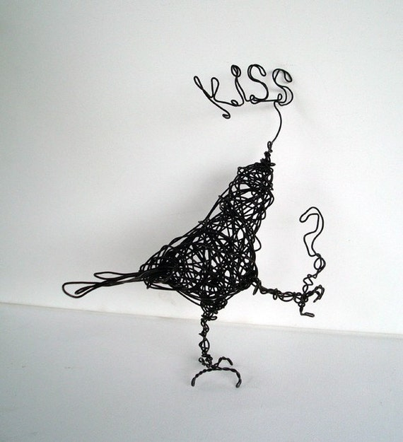 KISS Question Mark Black Bird - Original Wire Bird Sculpture - SALE