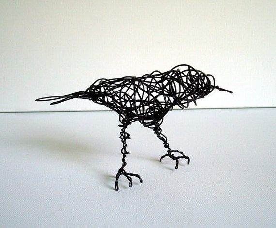 Unique Wire Bird Sculpture - BLACK ROBIN - All Sculpture ships for free in the USA