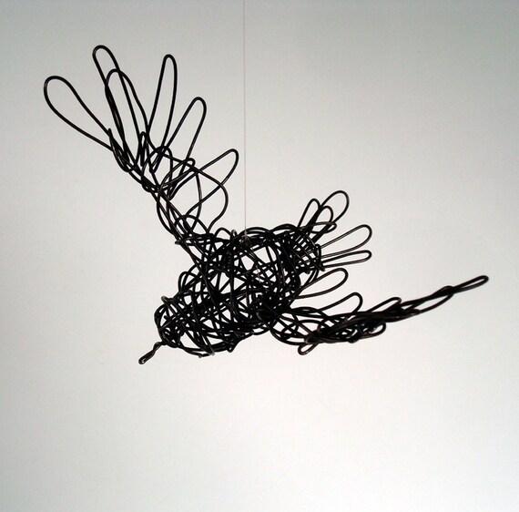 Original Wire Bird Sculpture - STARLING In FLIGHT - Wire Art by Nakisha