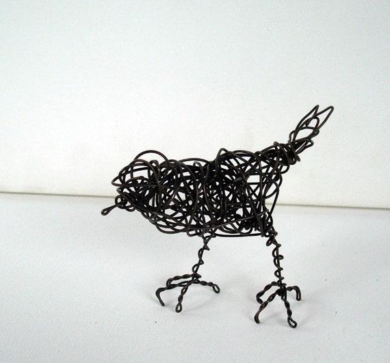 Original Wire Bird Sculpture - NOCTURNE ROBIN - Word Bird