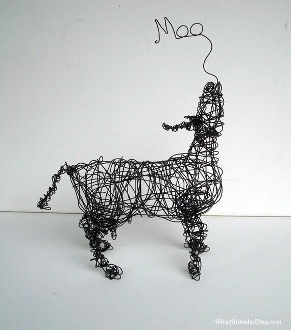 Original Wire Cow Sculpture - MOO COW - Wire Art