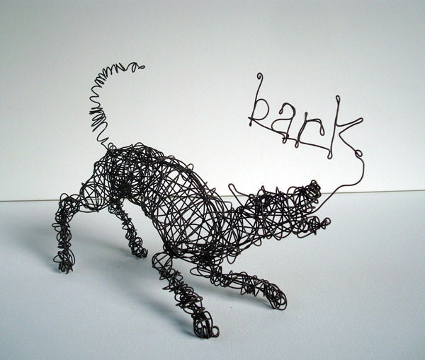 Play bow barking dog one of a kind wire dog sculpture for Dog wire art