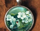 Hummingbird Garden  /  Domed Glass Cabochon Art Pendant / E35